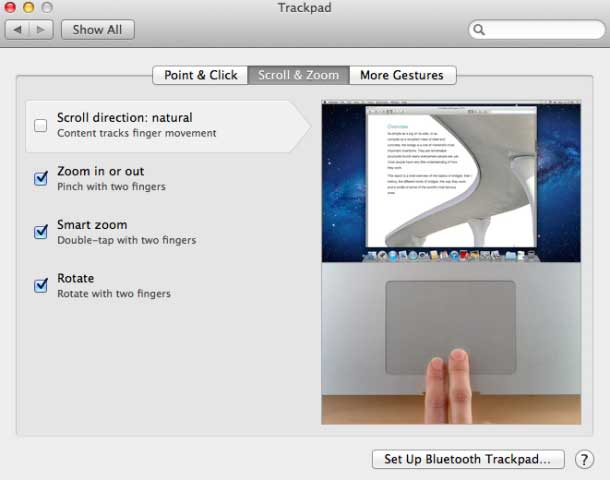 Turn off Natural Scrolling in Trackpad System Preferences