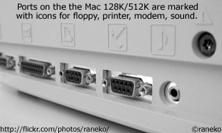 Ports on the rear of the Mac 128K