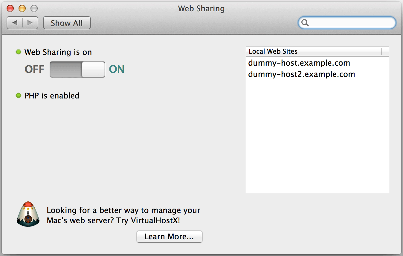 Web Sharing preference pane
