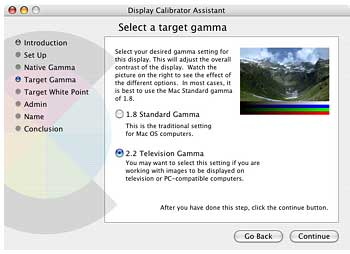 Figure 6: Adjusting Gamma in OS X