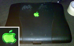 WallStreet PowerBook with green logo