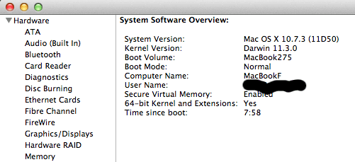 Early 2009 MacBook running OS X 10.7 with 64-bit kernel
