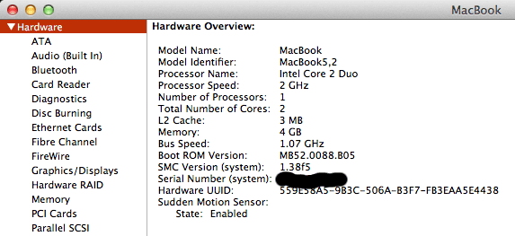 Early 2009 MacBook running OS X 10.7