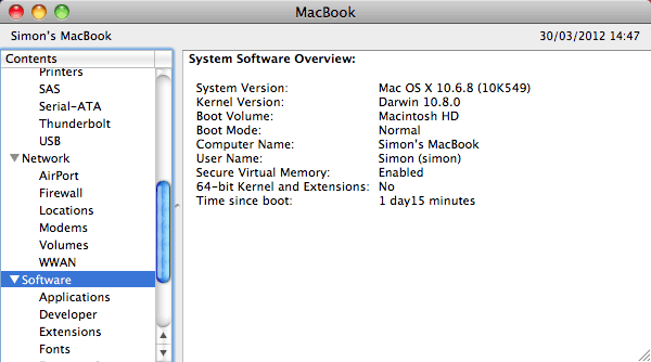 Early 2009 MacBook running OS X 10.6 with 32-bit kernel