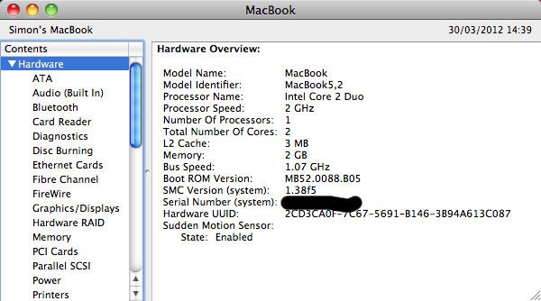 Early 2009 MacBook running OS X 10.6