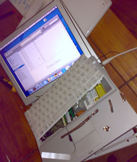 Disassembled but still running iBook G3