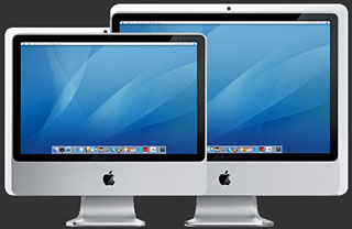 new iMacs in front of older, larger ones