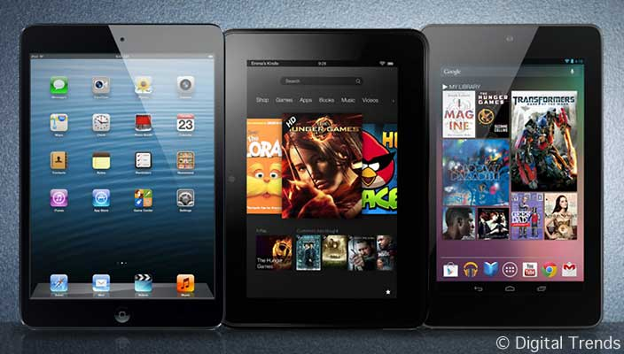 iPad mini, Kindle Fire HD, and Nexus 7