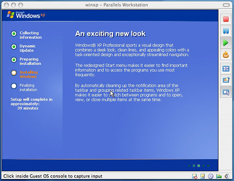 Windows XP running