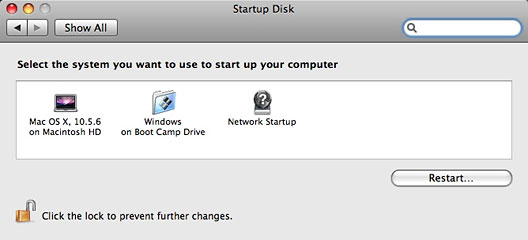 Startup Disk system preference in Mac OS X