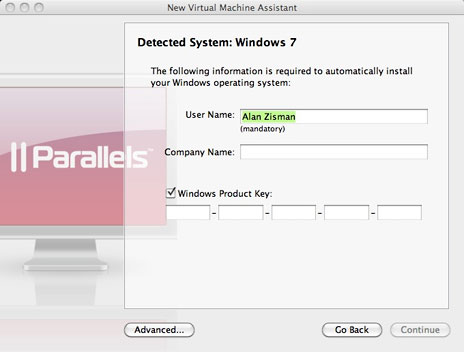 Setting up a new virtual machine using Parallels Desktop 5.0