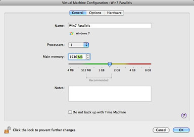 Disable Time Machine backup with a click in Parallels