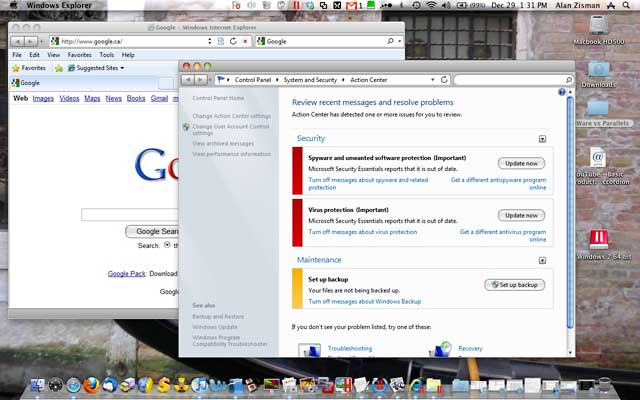 Coherence mode in Parallels Desktop 5.0