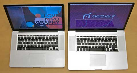 15-inch and 17-inch MacBook Pros side-by-side