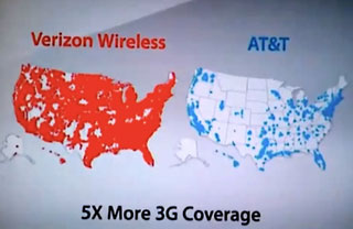 Verizon vs. AT&T 3G coverage map