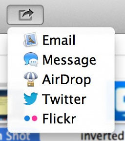 Sharing button in OS X Mountain Lion
