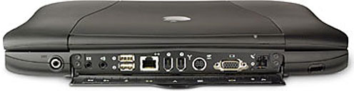 Back of Pismo shows audio, USB, ethernet, FireWire, S-video, VGA, and modem ports.