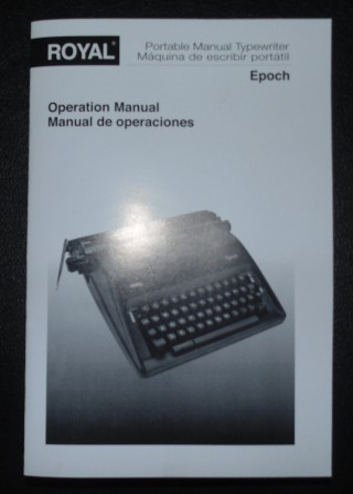 Royal Epoch Manual Typewriter Operators Manual