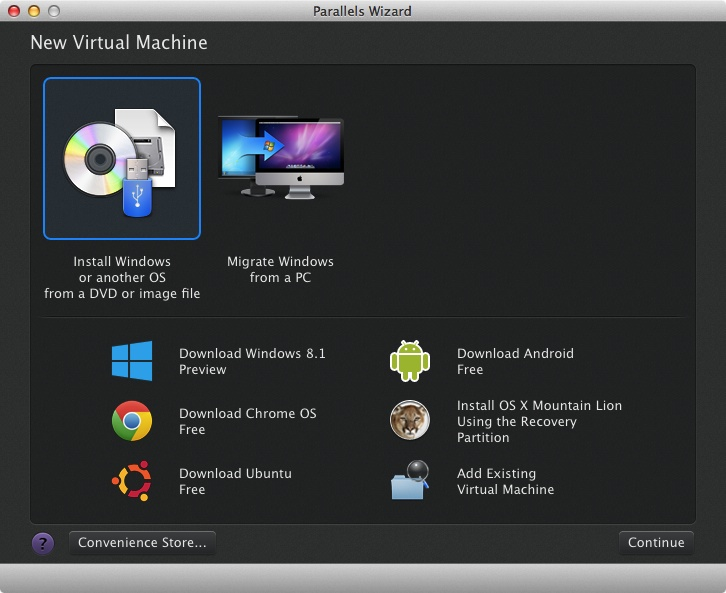 Parallels Desktop New Virtual Machine dialogue