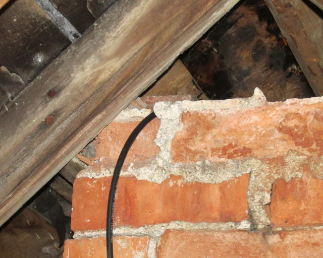 RG6 coaxial cable running down our chimney
