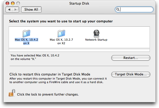 PowerPC 10.4 Startup Disk utility