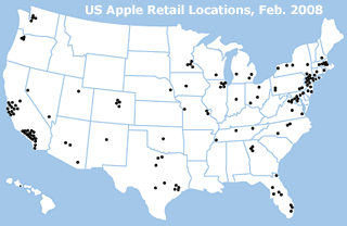Apple retail store map, 2008