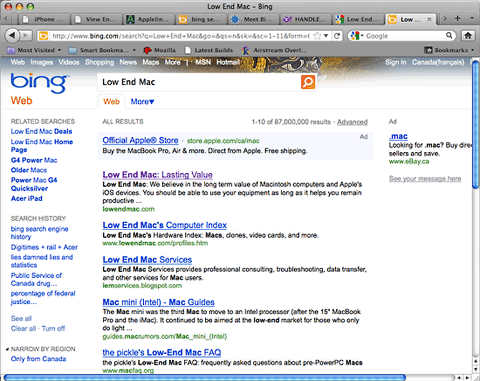 Bing search for Low End Mac