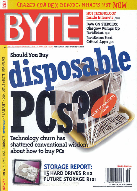 Byte magazine cover, February 1998