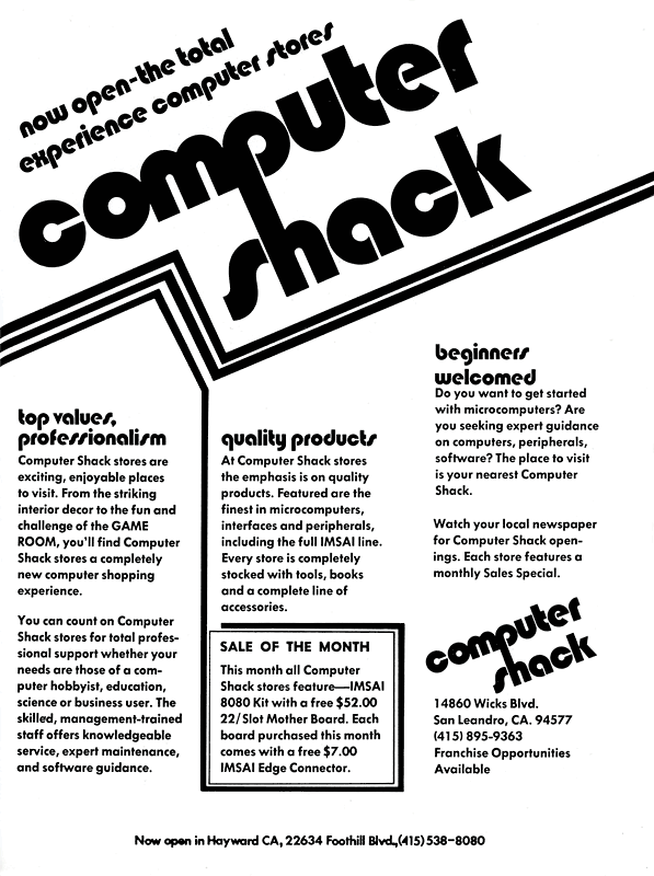 January 1977 Computer Shack ad