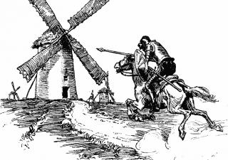 Don Quixote tilting at windmills