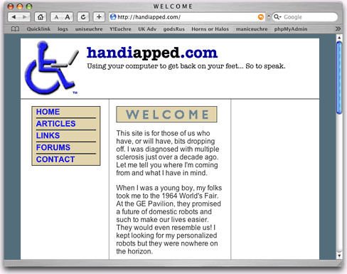 Handiapped.com screen shot