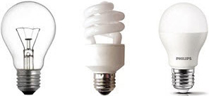 3 types of ligh bulbs