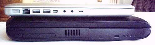 Side view, aluminum MacBook on Pismo