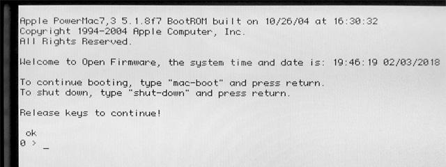 Open Firmware prompt