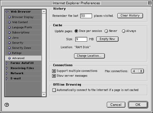 Internet Explorer Preferences