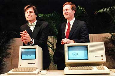 Steve Jobs and John Sculley introduce Macintosh and Macintosh XL