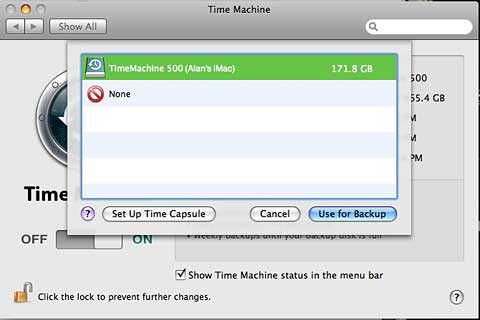 Remote shared drive now available for Time Machine backup