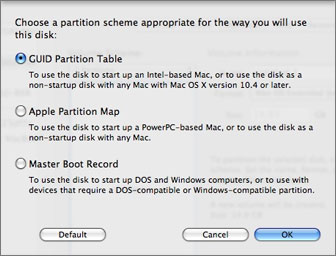 partition format options in Disk Utility