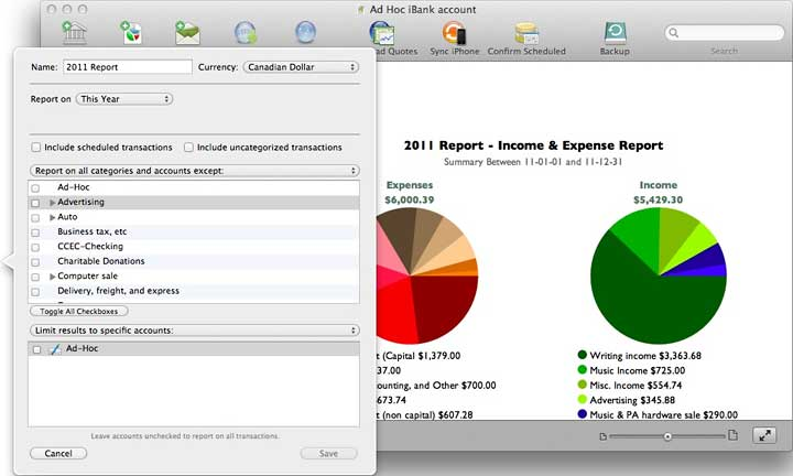 iBank allows creation of simple reports